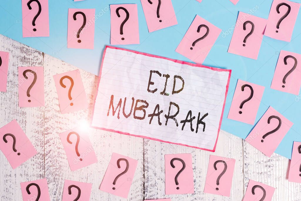 Handwriting text Eid Mubarak. Conceptual photo traditional Muslim greeting reserved for the holy festivals Scribbled and crumbling papers with thick cardboard above wooden table stock vector