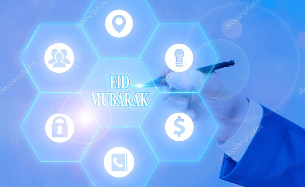 Writing note showing Eid Mubarak. Business concept for traditional Muslim greeting reserved for the holy festivals stock vector