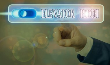 Writing note showing Elevator Pitch. Business photo showcasing the elevator statement is a short description of an idea.