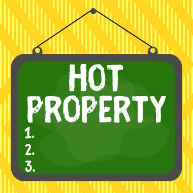 Word writing text Hot Property. Business concept for one that many showing want to buy and it is highly desirable Asymmetrical uneven shaped format pattern object outline multicolour design.