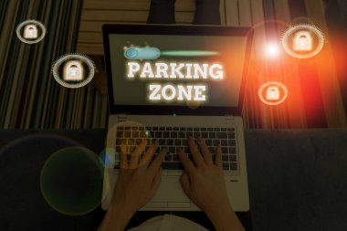 Word writing text Parking Zone. Business concept for a space where an automobile can be parked Allowed to parked.
