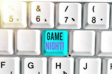 Conceptual hand writing showing Game Night. Business photo text usually its called on adult play dates like poker with friends.