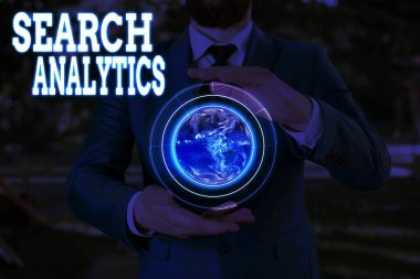 Text sign showing Search Analytics. Conceptual photo investigate particular interactions among Web searchers Elements of this image furnished by NASA.