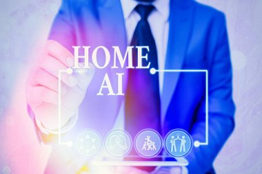 Handwriting text writing Home Ai. Concept meaning home solution that enables automating the bulk of electronic.
