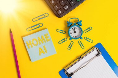 Writing note showing Home Ai. Business photo showcasing home solution that enables automating the bulk of electronic Alarm clock clipboard pencil calculator notepad colored background.