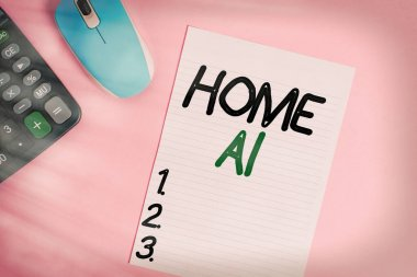 Handwriting text writing Home Ai. Concept meaning home solution that enables automating the bulk of electronic Electronic calculator device wire mouse striped sheet colored background.