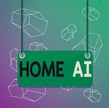 Word writing text Home Ai. Business concept for home solution that enables automating the bulk of electronic Board color background plank attached string panel rectangle empty surface.