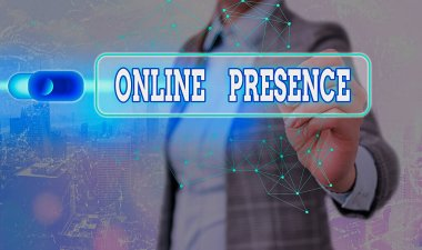 Writing note showing Online Presence. Business photo showcasing existence of someone that can be found via an online search.