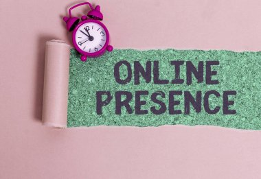 Word writing text Online Presence. Business concept for existence of someone that can be found via an online search.