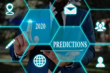 Writing note showing 2020 Predictions. Business photo showcasing list of things you feel that going to happen without proof.