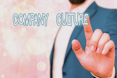 Text sign showing Company Culture. Conceptual photo The environment and elements in which employees work.