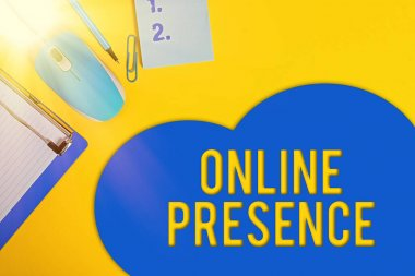 Word writing text Online Presence. Business concept for existence of someone that can be found via an online search Metal clipboard blank paper sheet clip mouse pencil note colored background.