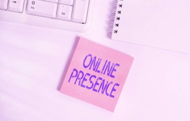 Word writing text Online Presence. Business concept for existence of someone that can be found via an online search Empty note paper on the white background by the pc keyboard with copy space.