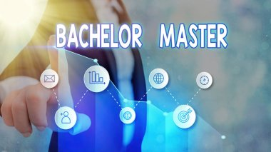 Handwriting text Bachelor Master. Concept meaning An advanced degree completed after bachelor s is degree.