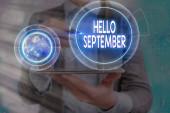 Fogalmi kézírás bemutató Hello September. Üzleti fotó szöveg Alig várja, hogy meleg fogadtatásban részesüljön a szeptember hónapban Elements of this image provided by NASA.