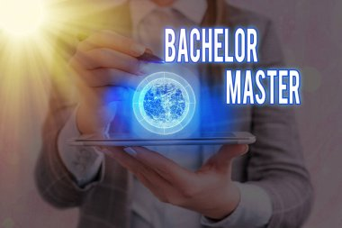 Text sign showing Bachelor Master. Conceptual photo An advanced degree completed after bachelor s is degree Elements of this image furnished by NASA.