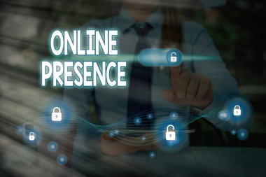 Text sign showing Online Presence. Conceptual photo existence of someone that can be found via an online search.