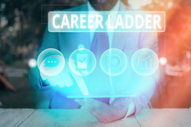 Conceptual hand writing showing Career Ladder. Business photo text Job Promotion Professional Progress Upward Mobility Achiever.