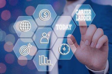 Writing note showing Career Ladder. Business photo showcasing Job Promotion Professional Progress Upward Mobility Achiever.