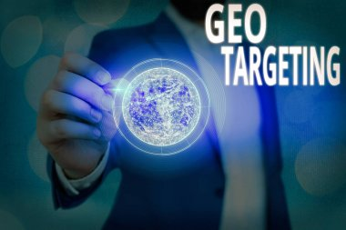 Text sign showing Geo Targeting. Conceptual photo Digital Ads Views IP Address Adwords Campaigns Location Elements of this image furnished by NASA.