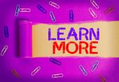 Textová značka zobrazující Další informace. Konceptuální foto znalosti nebo dovednosti získané výukou Značné učení.