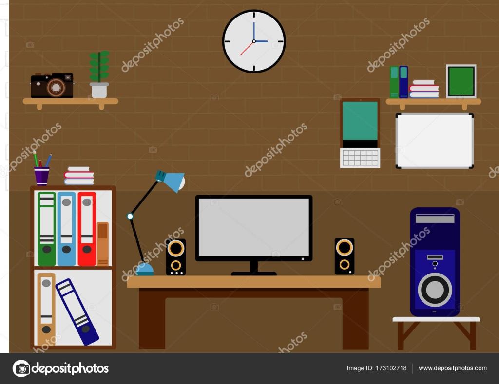 Computer Tisch flach Bürogestaltung — Stockvektor © Kit291 #173102718