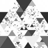 abstrakter Hintergrund, der eine große Anzahl von Dreiecken unterschiedlicher Größe und Helligkeit enthält. Schwarz-Weiß-Illustration