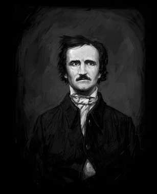 Edgar Allan Poe, drawing on isolated  black background for print and web.Black and white composition for the interior. Painting graffiti on the wall. Design for a book or a collection of short stories.