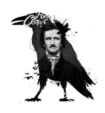 Edgar Allan Poe, drawing on isolated white background for print and web. Black and white composition and calligraphy for the interior. Painting graffiti on the wall. Design for a book or a collection of short stories.