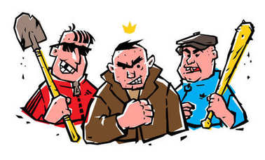 Illustration of bad guys. The guys are not hipsters. Image of cheerful hoodlums on a white isolated background. Illustration of Russian bandits in comic style with a tattoo. Street criminal grouping.