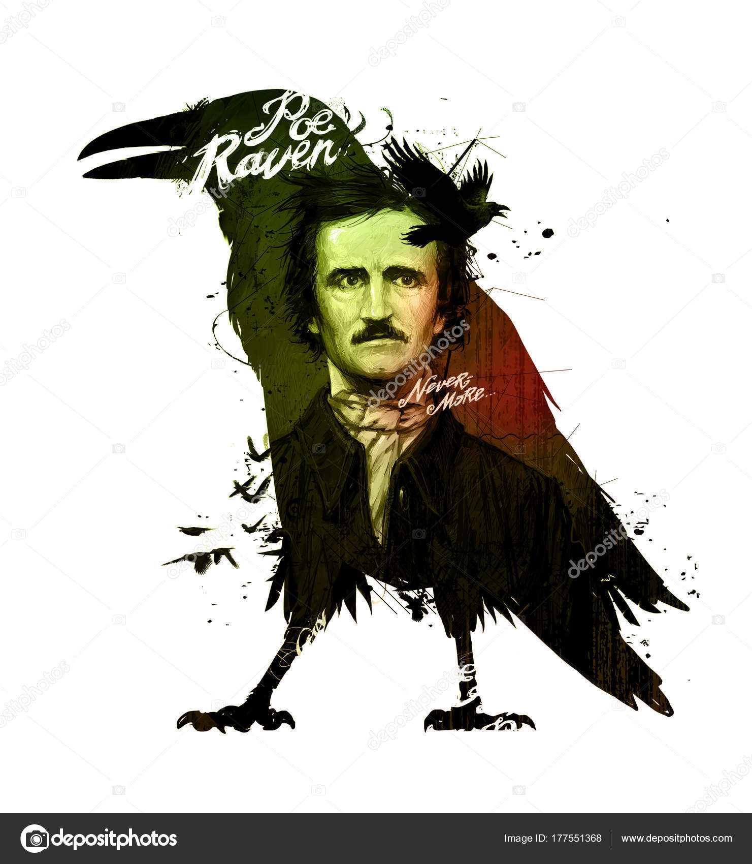 Edgar Allan Poe, drawing on isolated white background for print and web.  Illustration, calligraphy for the interior. Painting graffiti on the wall.  Design for a book or a collection of short stories. —