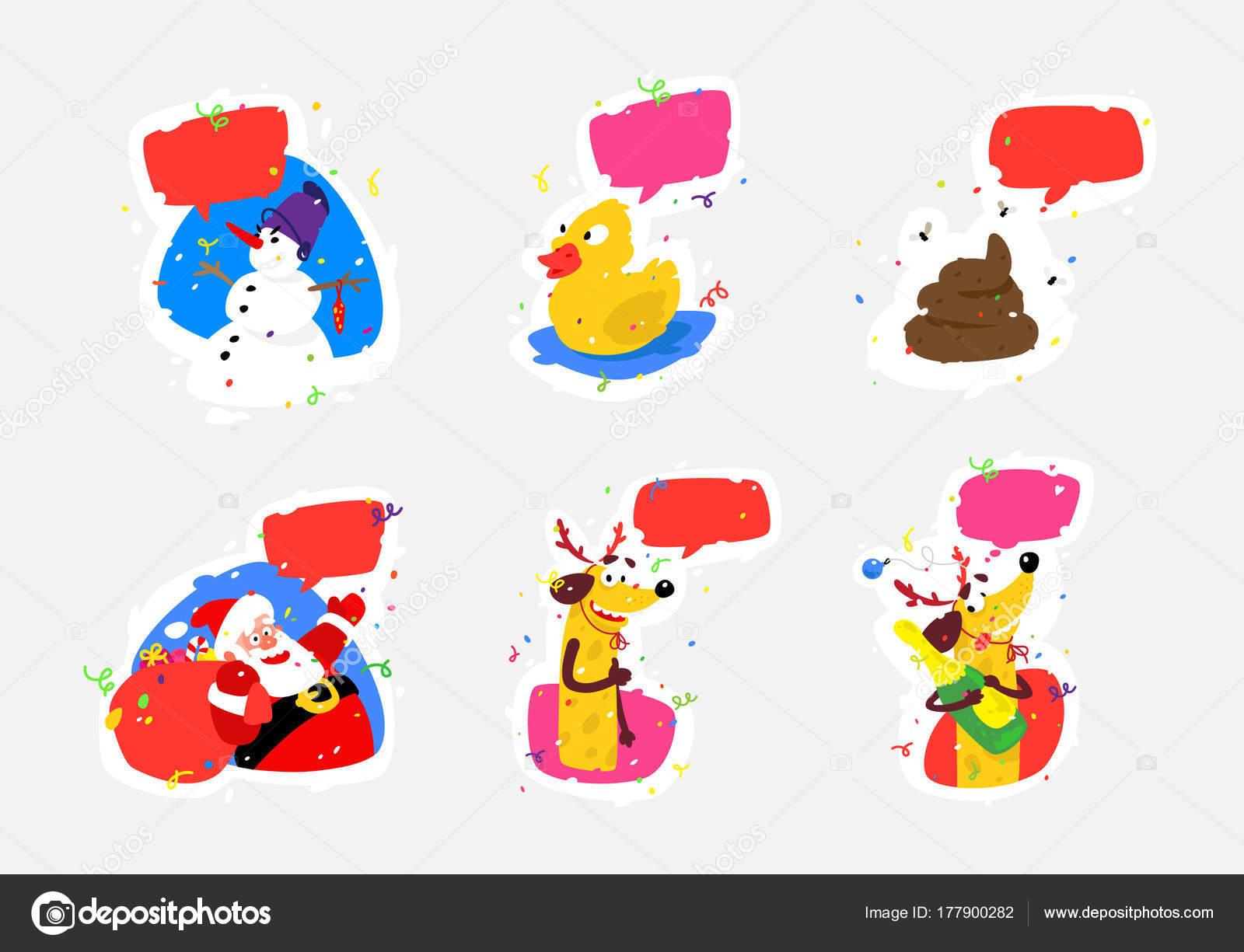 Weihnachten Aufkleber set. Vektor-Illustration für Print, Logo ...