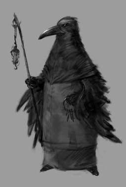 A wizard of crows with a staff and keys. Illustration of an anthropoid in the form of a sorcerer. Sketch of the character. Raven bird black silhouette animal. Black crow illustration.