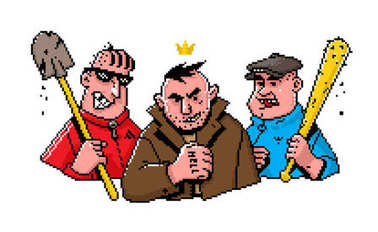 Character in the style of pixel art. Illustration of bad guys. The guys are not hipsters. Image of cheerful hoodlums on a white isolated background. Illustration of Russian bandits in comic style. Street criminal grouping. Characters painted in the s