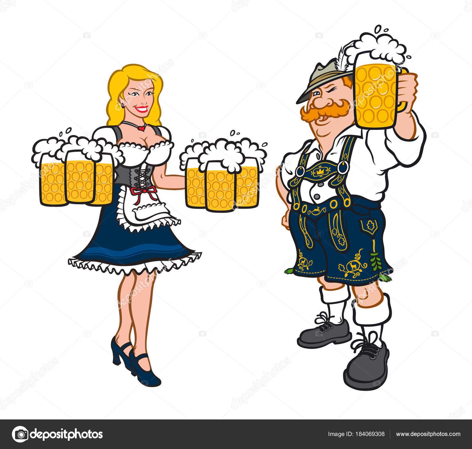 852236ef4 Lindo hombre y mujer en trajes típicos alemanes. Ilustración de ...