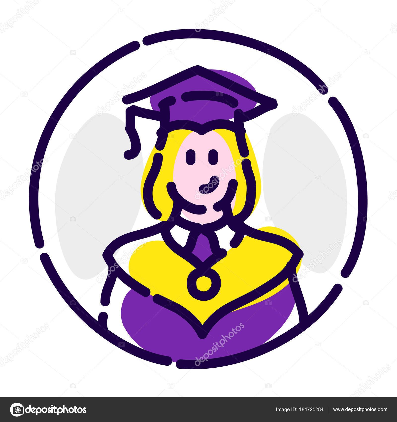 Un estudiante con un ropaje. Icono plano vectorial. Un graduado de ...