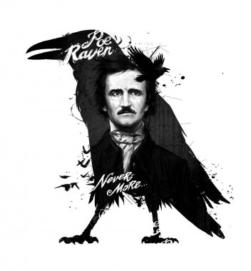 Edgar Allan Poe, drawing on isolated white background for print and web. Black and white composition and calligraphy for the interior. Painting graffiti on the wall. Tattoo of the great poet.