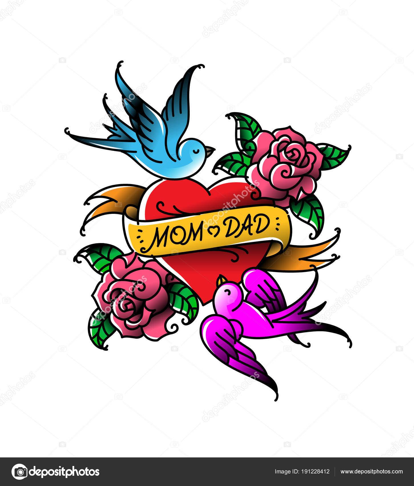 Tatuaggi Con Iscrizione Mamma Papà Due Cuori Con Fiore Uccello