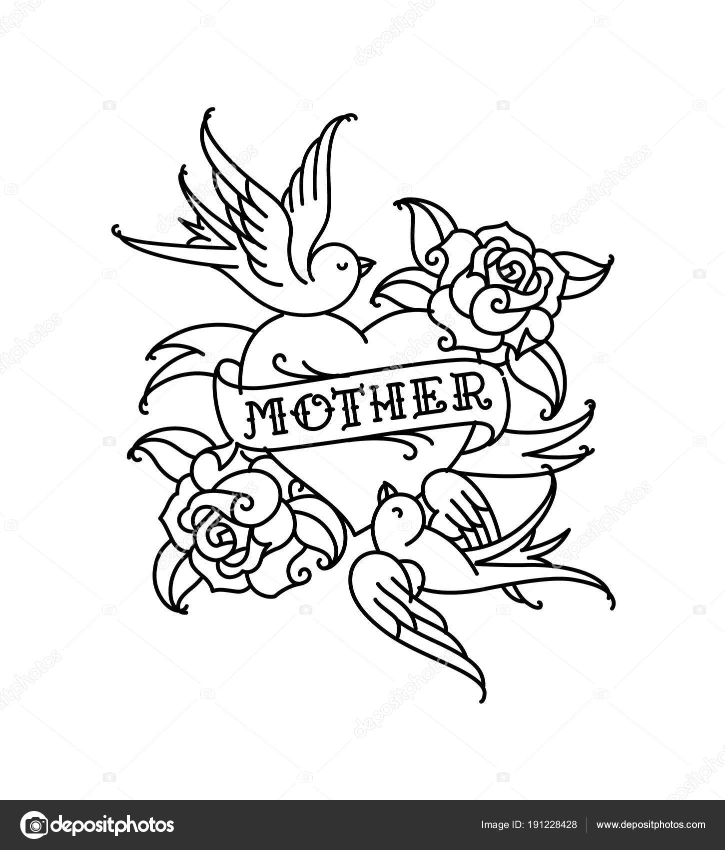 A tattoo with the inscription of Mom. A heart and flower tattoo with a flower. Tattoo in the style of the American old school. Vector flat tattoo.