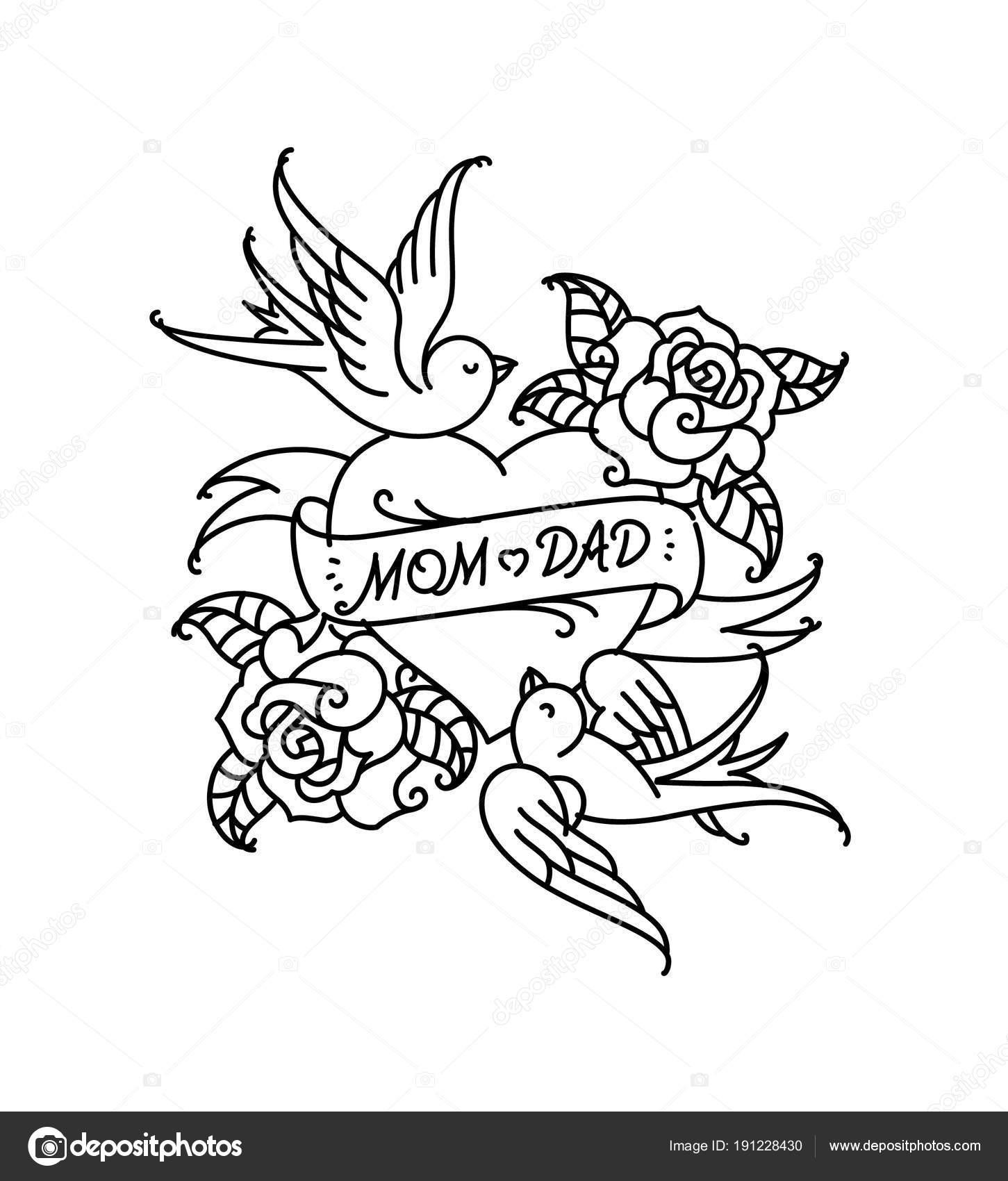 Tatuajes Con Inscripción Mamá Papá Dos Corazones Con Una Flor