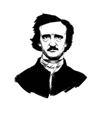 Illustration by Edgar Allan Poe. Portrait of a great American writer and poet. Illustration for a tattoo, site, booklet, poster, postcard. Image on white background isolated. Raster image.