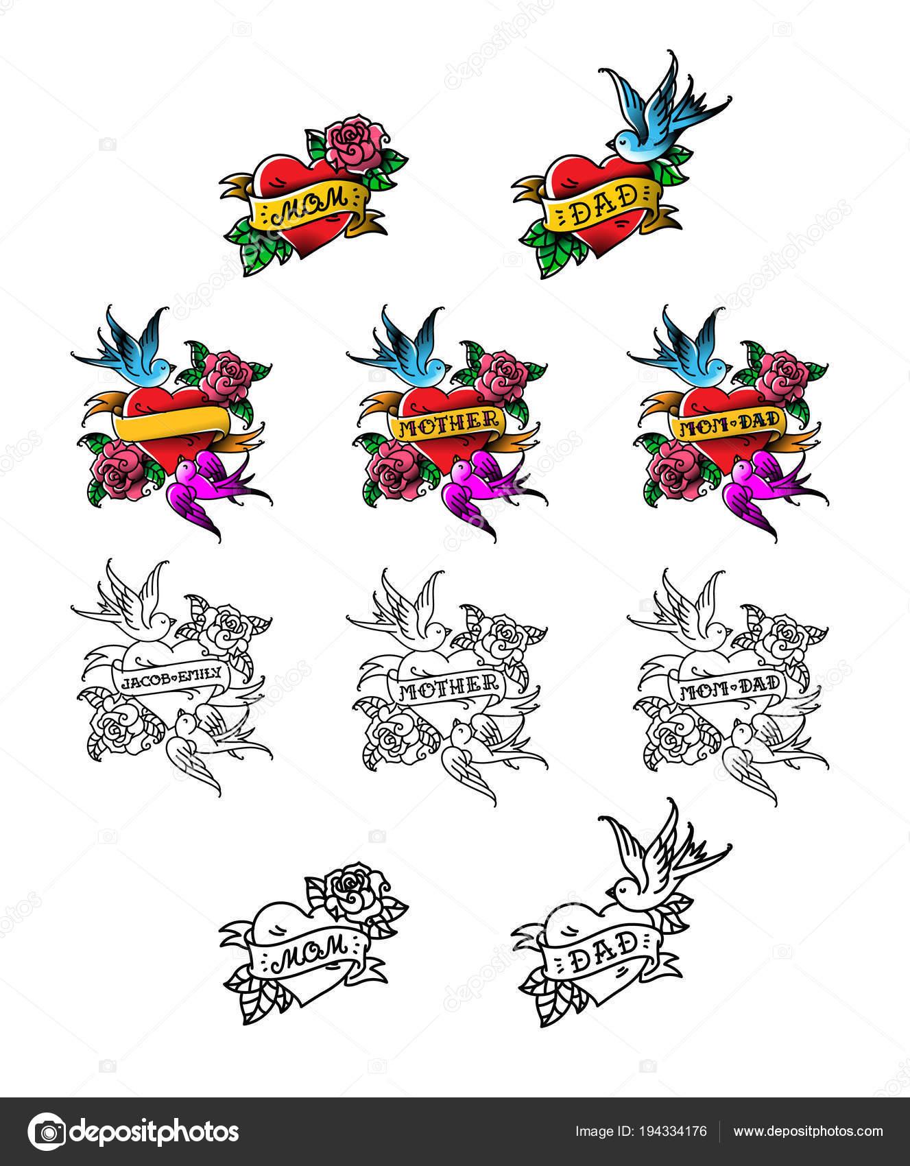 Set Tatuaggi Congratulazioni Mamma Papà Cuore Con Uccelli Fiori