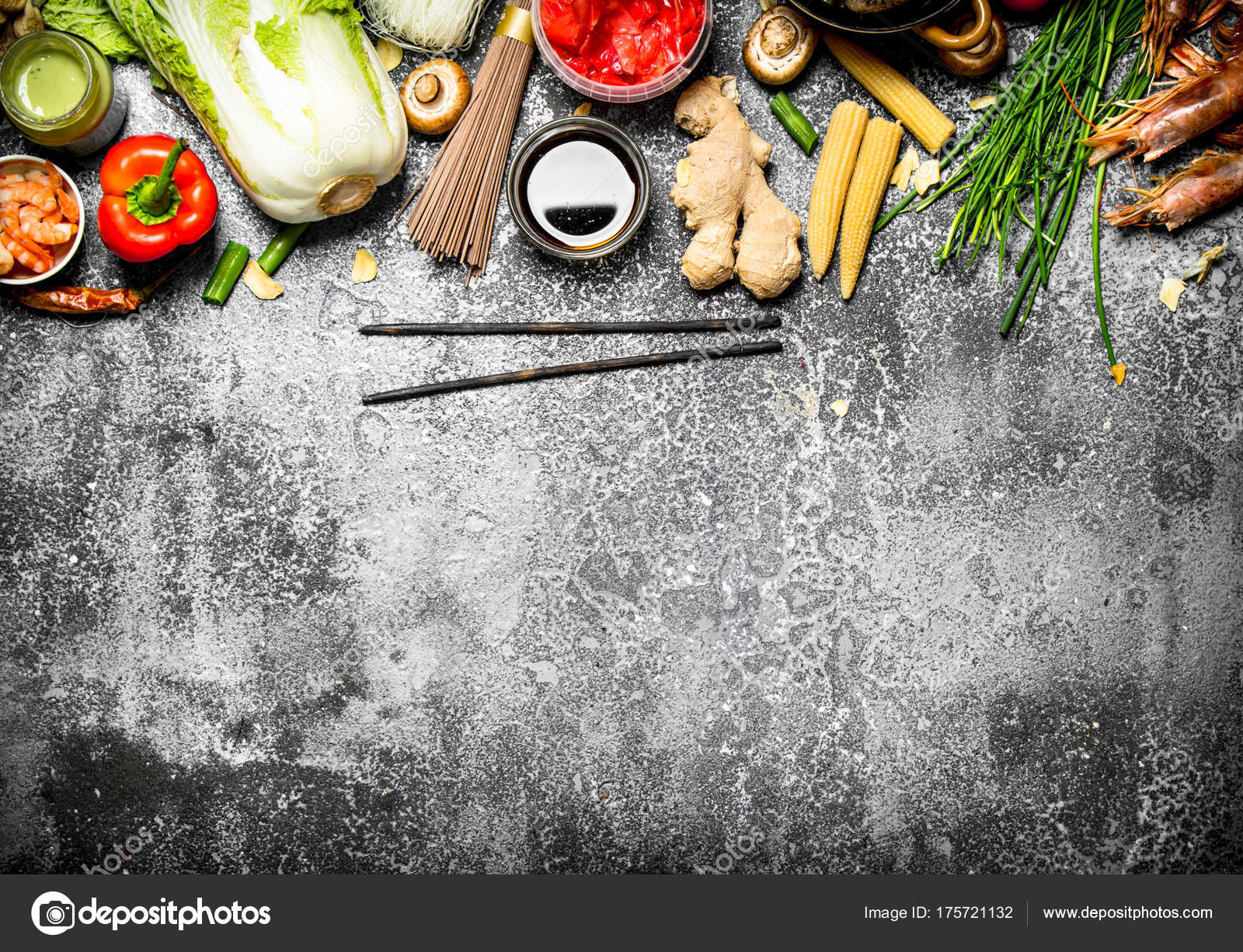 Asian food a variety of ingredients for cooking chinese or thai asian food a variety of ingredients for cooking chinese or thai food on a rustic background photo by srapulsar38 forumfinder Images