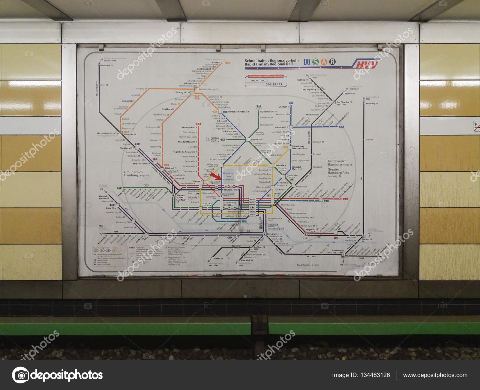 Hamburk Nemecko Cca Listopadu 2016 Mapa Site Podzemni Drahy