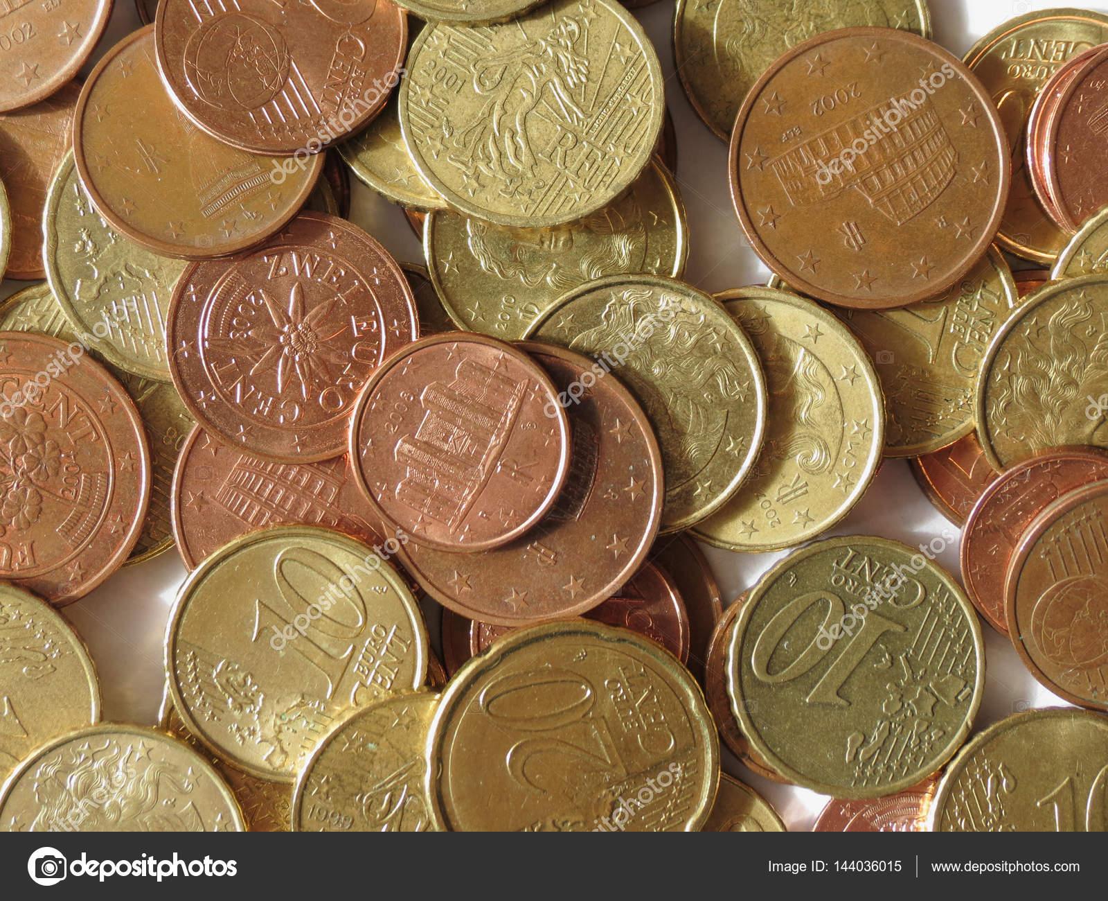Euro Eur Münzen Aus Verschiedenen Ländern Nützlich Als Hintergrund