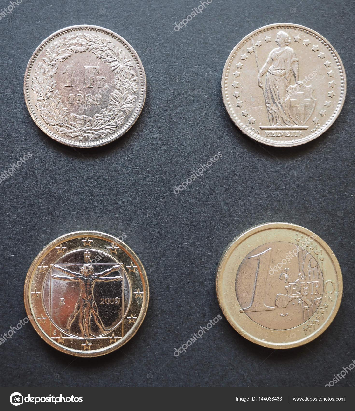 Schweizer Franken Chf Und Euro Eur Münzen Stockfoto Route66