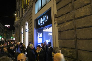 FLORENCE, ITALY - CIRCA JANUARY 2016: store front of Liu Jo Uomo brand store with DJ set event