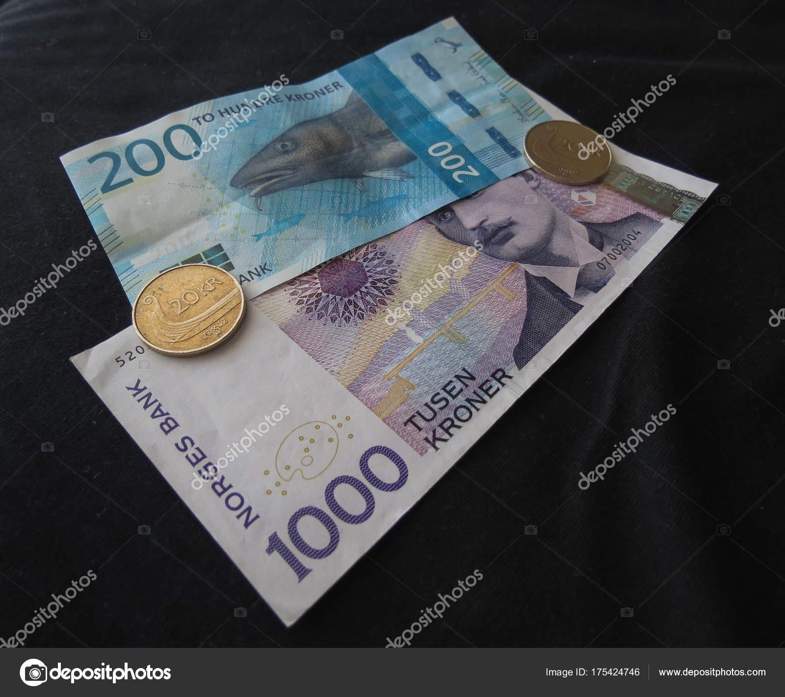 Norwegische Kronen Banknoten Und Münzen Nok Währung Von Norwegen