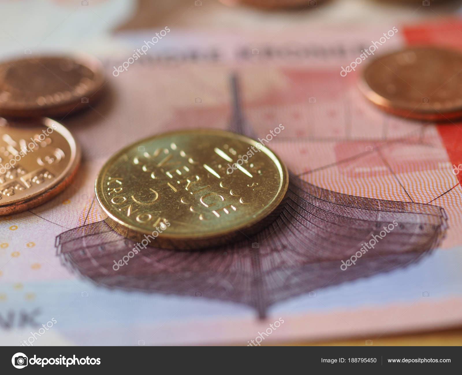 Norwegische Kronen Banknoten Und Münzen Norwegen Stockfoto