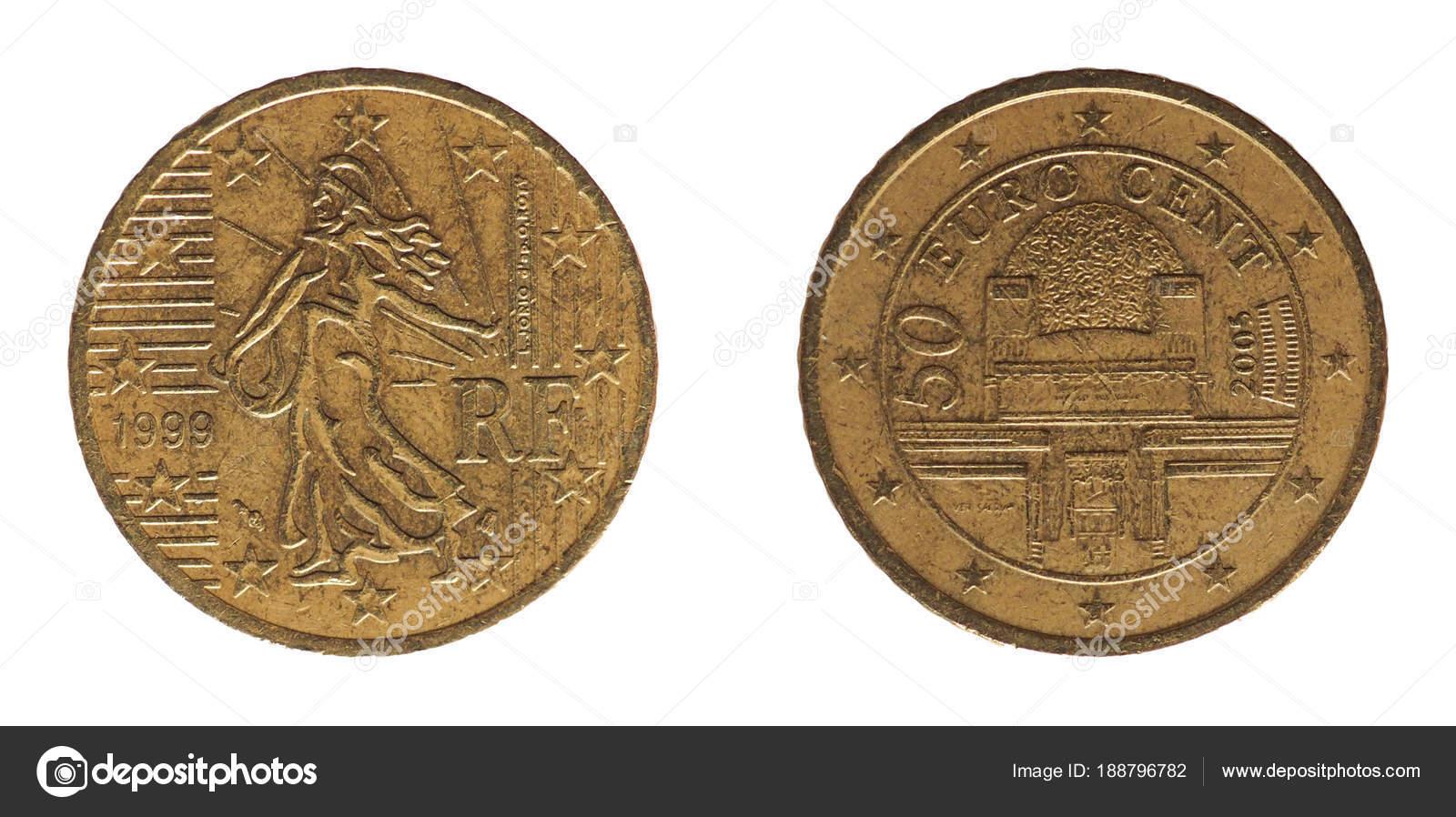 50 Cent Münze Frankreich Und österreich Europa Stockfoto